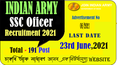 Indian Army SSC Officer Recruitment 2021