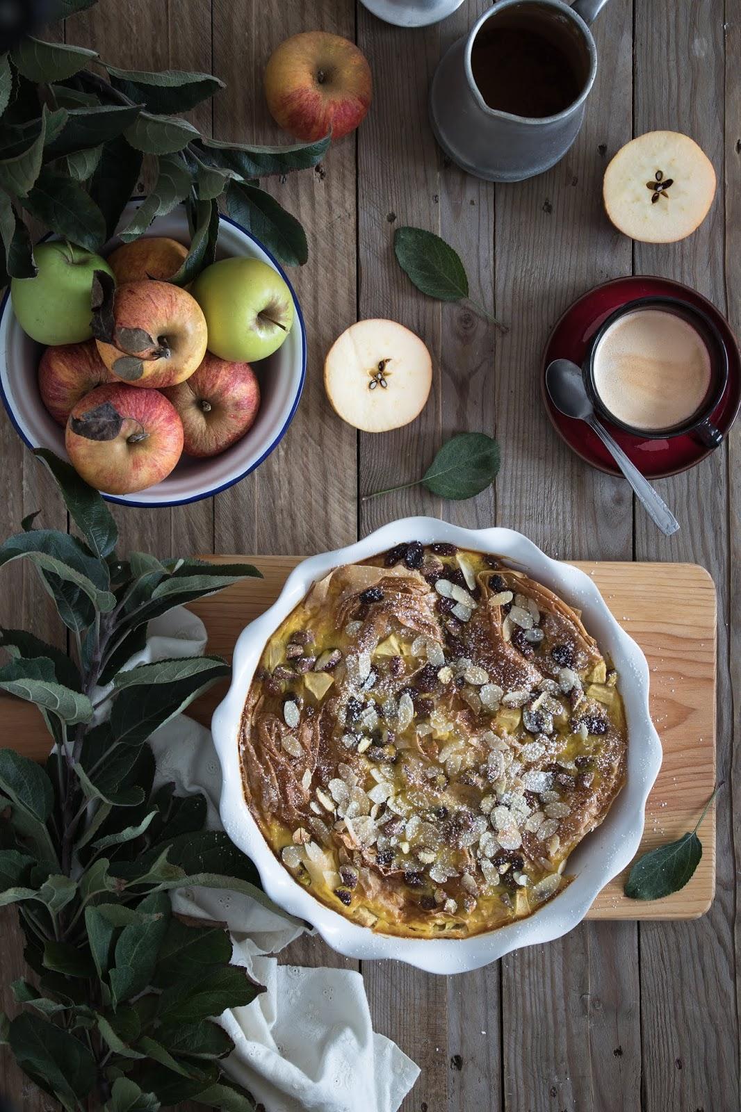 Tarte de Leite e maçã com massa filó