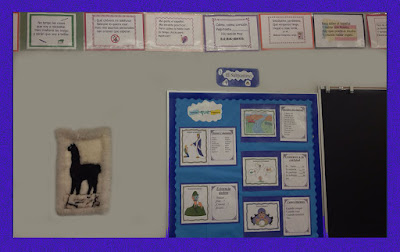A picture of the visuals in Lonnie Dai Zovi's actual classroom showing her famous Spanish Snappy Sayings and a few of the subjunctive posters to help the visual learners