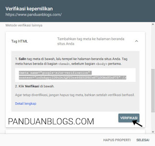 Cara Memverifikasi Blog di Search Console