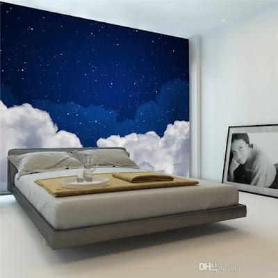moln tapet sovrum mörkblå himmel stjärnor fototapet