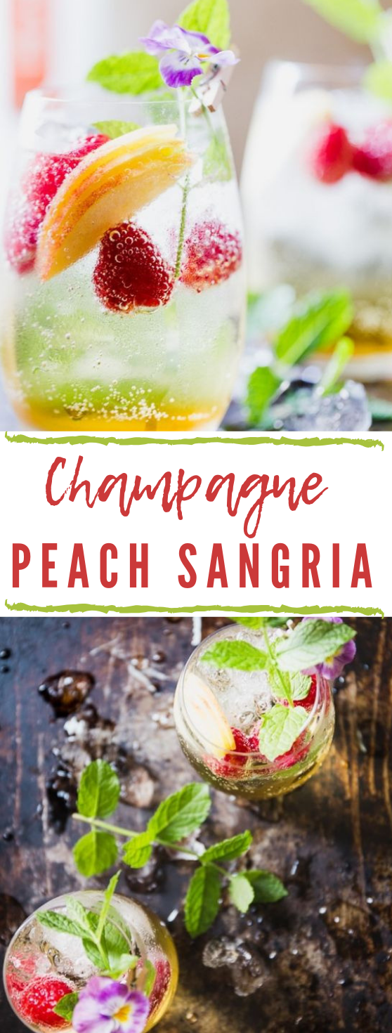 SPARKLING CHAMPAGNE SANGRIA WITH PEACHES #drink #sangria #smoothie #cocktail #recipe