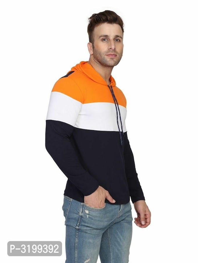 Men's multicolored cotton colourbloked hooded Tees