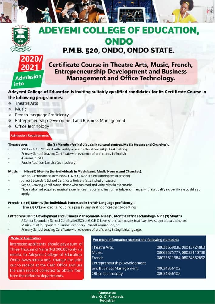 ACEONDO Certificate Course Programme Form 2020/2021