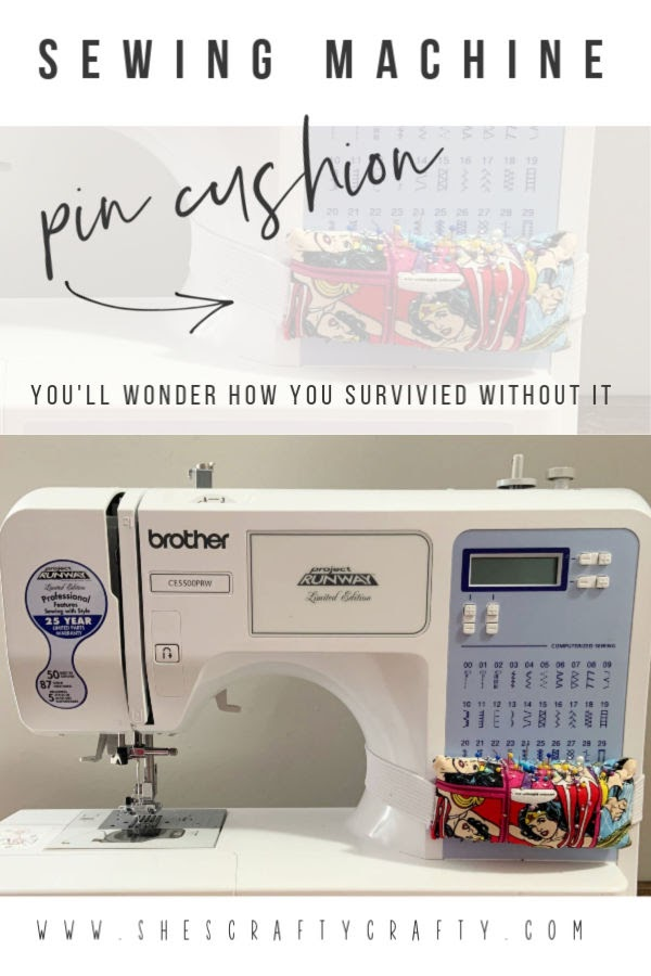 Sewing Machine Pin Cushion  |  Learn how to make an easy pin cushion that attaches to your sewing machine  |  She's Crafty