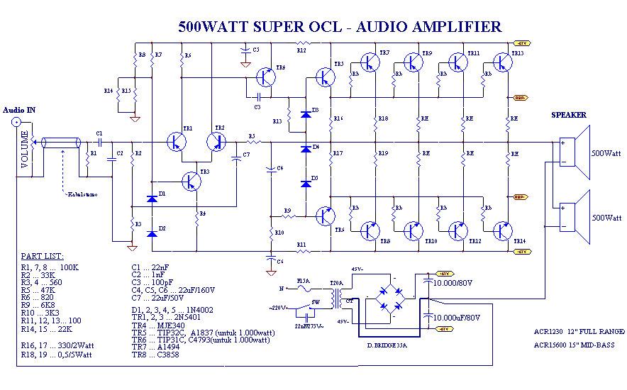1000 Watts Power Amplifier Schematic Diagrams Power Amplifier Super Ocl 500w Circuit Electronic Circuit