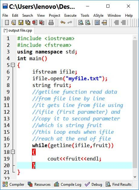 Ifstream C++ How to open text file and read data
