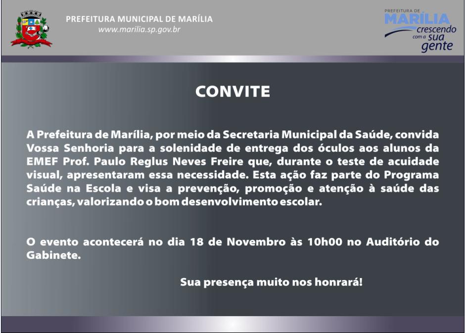 Secretaria Municipal da Educação de Marília/SP: Saúde na Escola