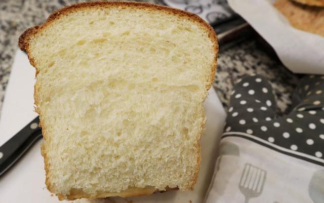 Freshly sliced milk bread
