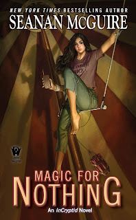 A young woman with long dark hair is balanced on a swing below a the top of a circus tent, she's holding a walking talkie as a pack of explosives dangles by a string below her.