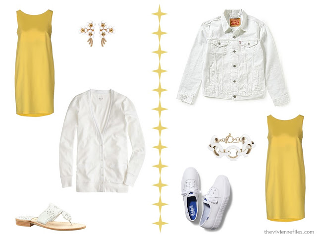 Two ways to wear a yellow dress with white