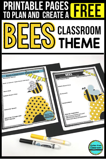 BEE Theme Classroom: If you're an elementary teacher who is thinking about an insect, bugs, or BEE theme then this classroom decor blog post is for you. It'll make decorating for back to school fun and easy. It's full of photos, tips, ideas, and free printables to plan and organize how you will set up your classroom and decorate your bulletin boards for the first day of school and beyond. #ClassroomDecor #ClassroomDecorations #BacktoSchool #beetheme