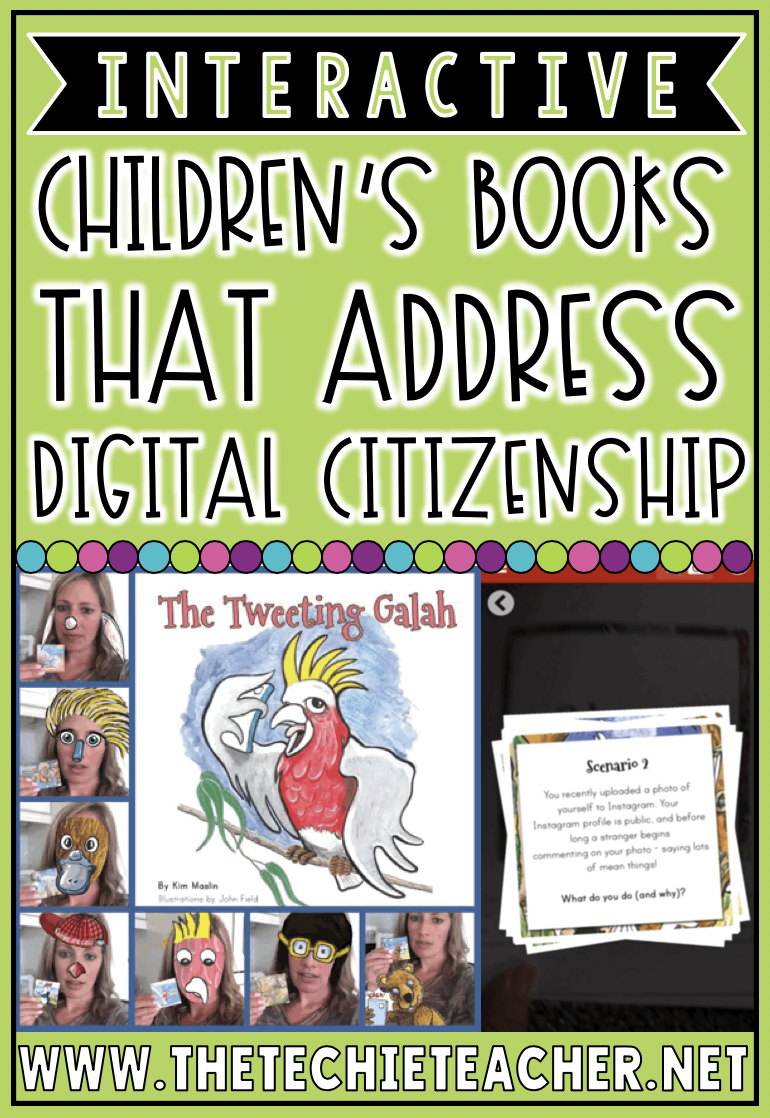 Interactive Children's Books That Address Digital Citizenship Topics: These picture books have augmented reality triggers built into the stories which makes reading an interactive experience!  Reflection questions are also included to help students discuss digital age issues like cyber safety, cyberbullying, location services and other online safety issues.