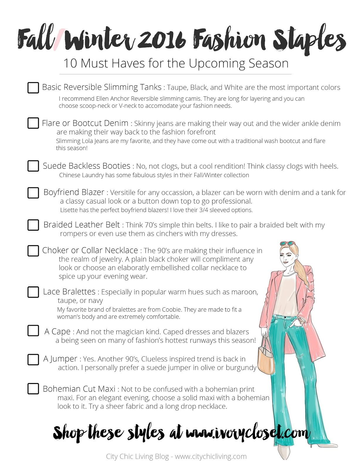 Fall Winter Fashion 2016 Checklist
