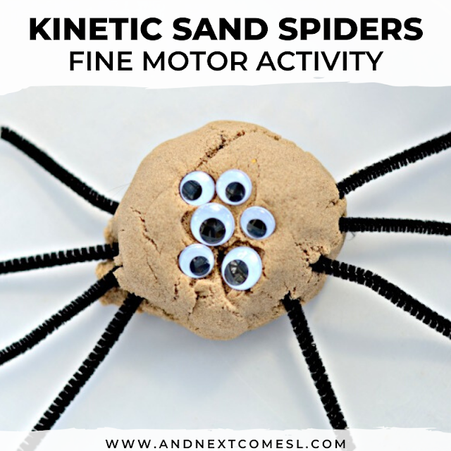Spider activity for kids using kinetic sand