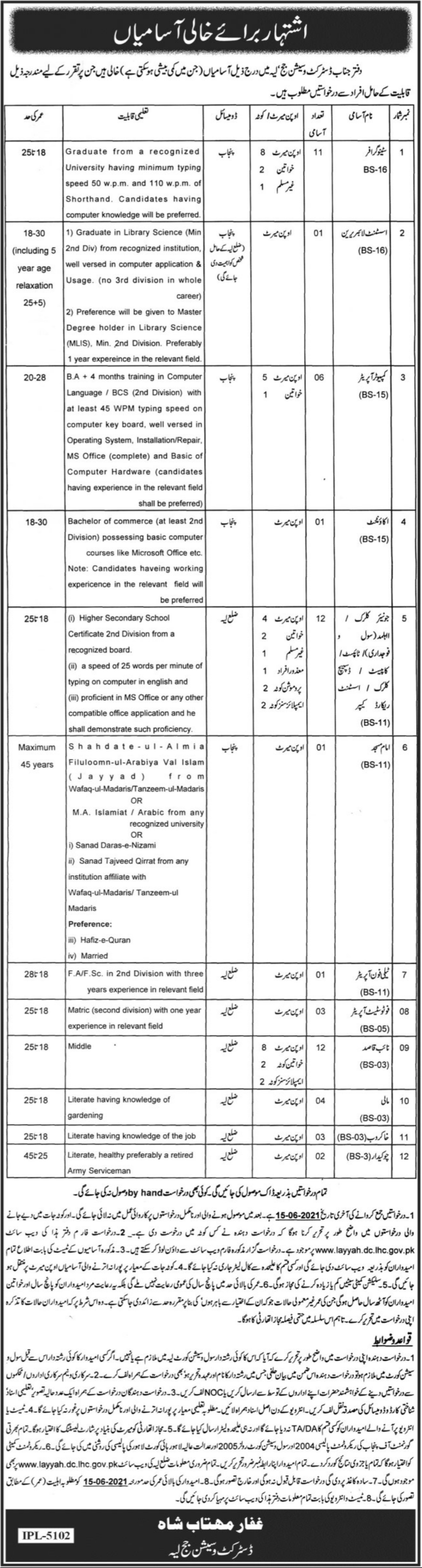 Govt Jobs in District and Session Court Layyah for the post of Stenographer, Librarian, Computer Operator, Accountant, etc