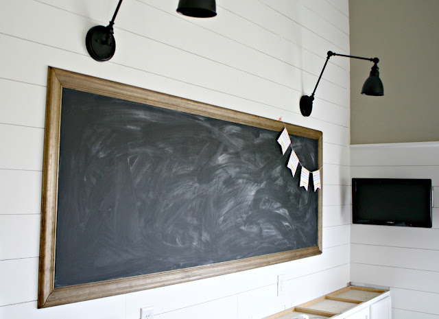 large DIY chalkboard for home classroom