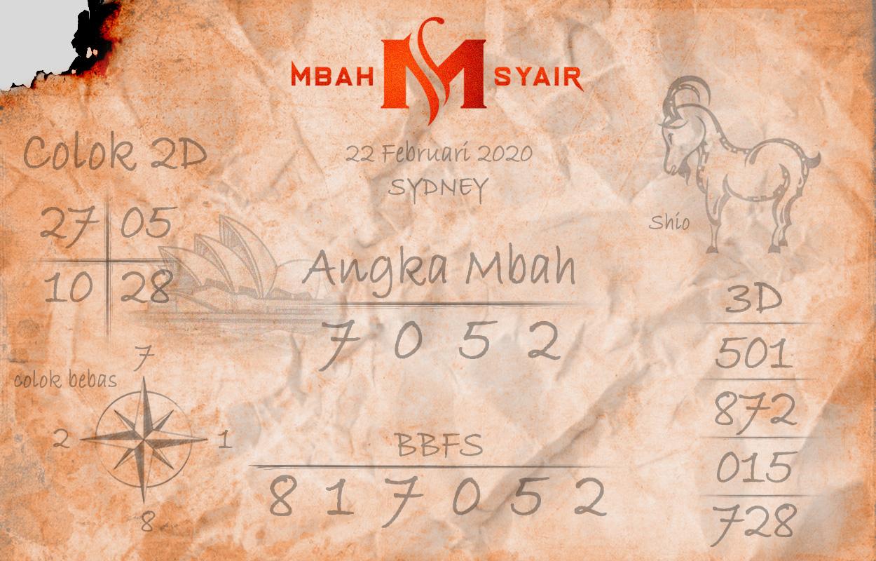Prediksi Togel JP Sidney 22 Februari 2020 - Mbah Syair