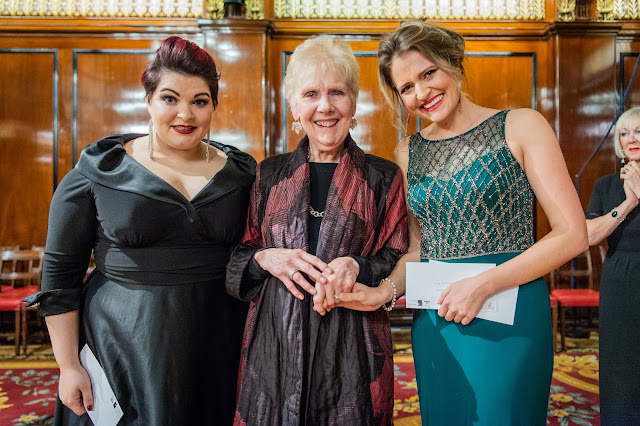 The Grange Festival International Singing Competition - Dame Felicity Palmer with Claire Barnett-Jones, Samantha Clarke (joint 2nd Prize) - (Photo Robert Workman)