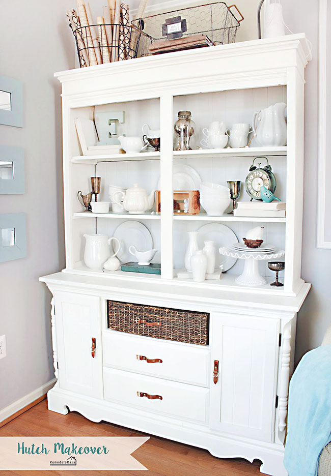 old hutch painted white