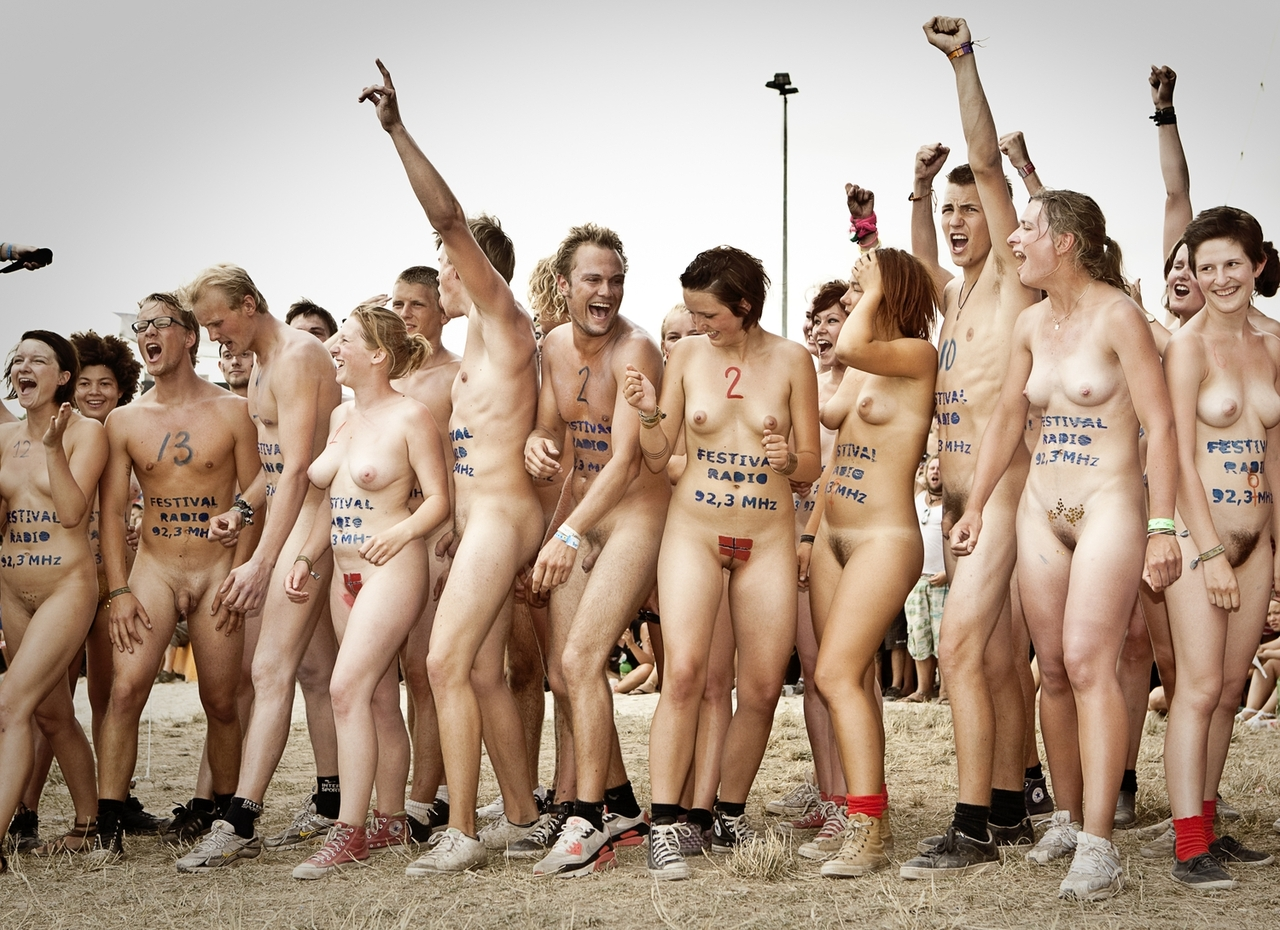 Nude Beach Group Photo