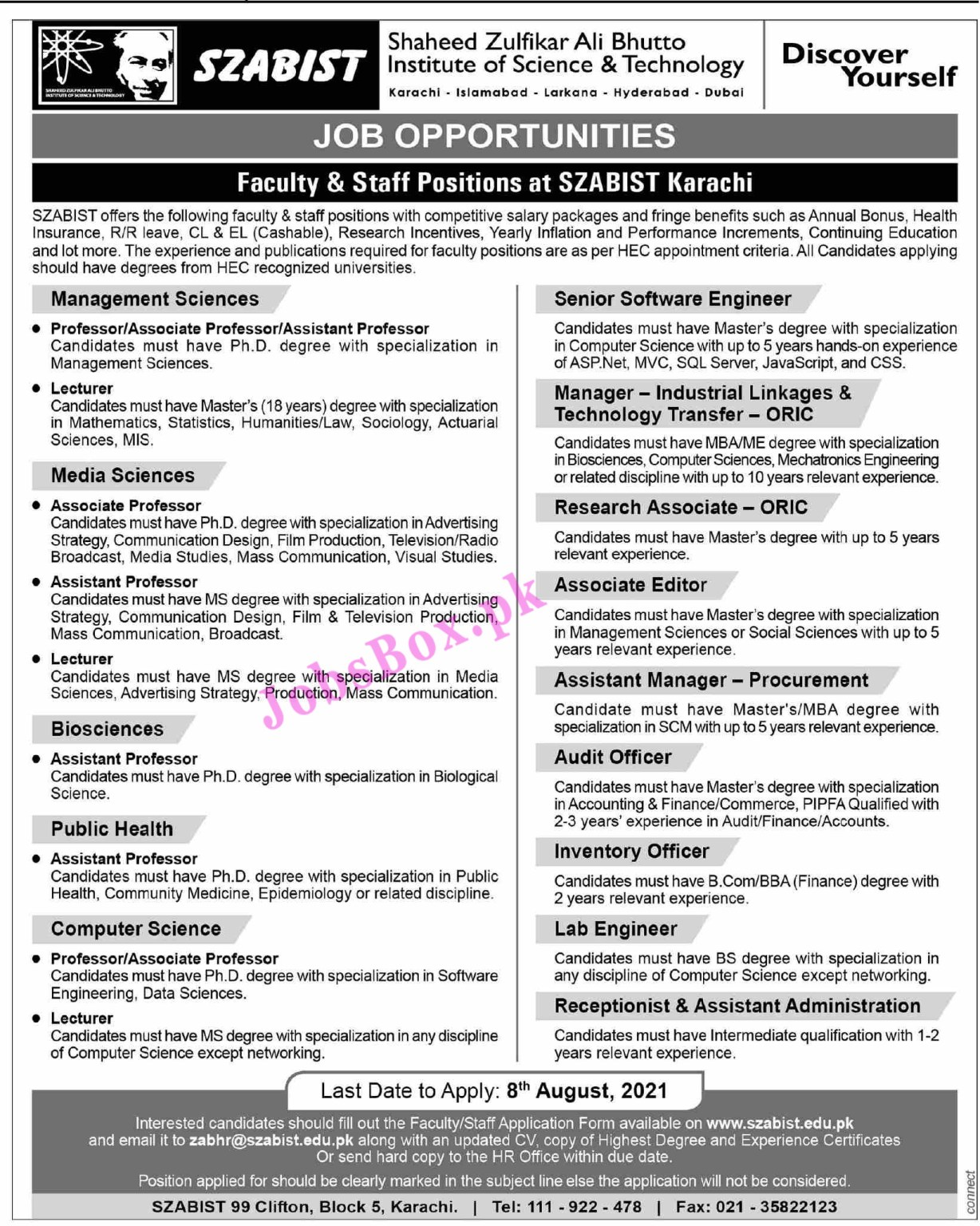 www.szabist.edu.pk Jobs 2021 - SZABIST Shaheed Zulfikar Ali Bhutto Institute of Science & Technology Jobs 2021 in Pakistan