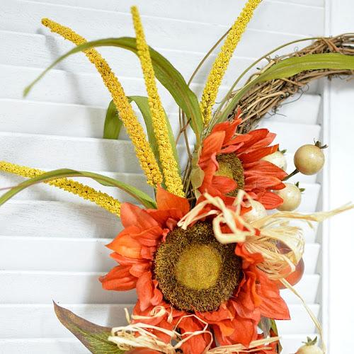 Easy Orange Sunflower Fall Wreath DIY