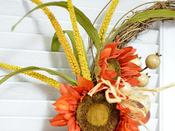 Orange Sunflower DIY Fall Wreath