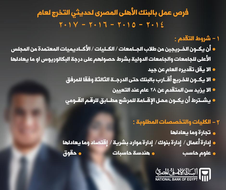 وظائف البنك الأهلي المصري 2018 الشروط