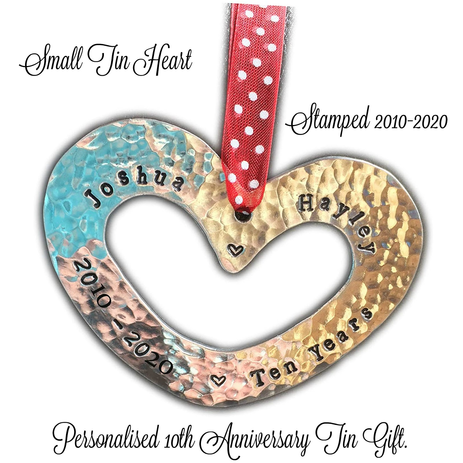 a 10th anniversary tin heart
