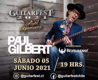 Guitarfest Chile regresa en formato virtual con Paul Gilbert como invitado estelar
