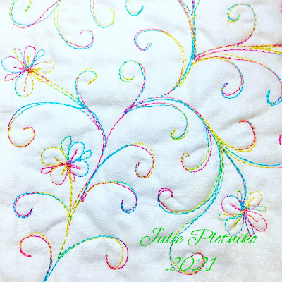 New Free Motion Quilting Design of flowers and swirls