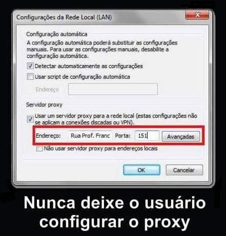 usuario configurando proxy