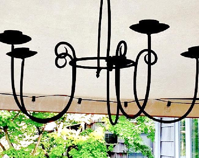 black iron chandelier