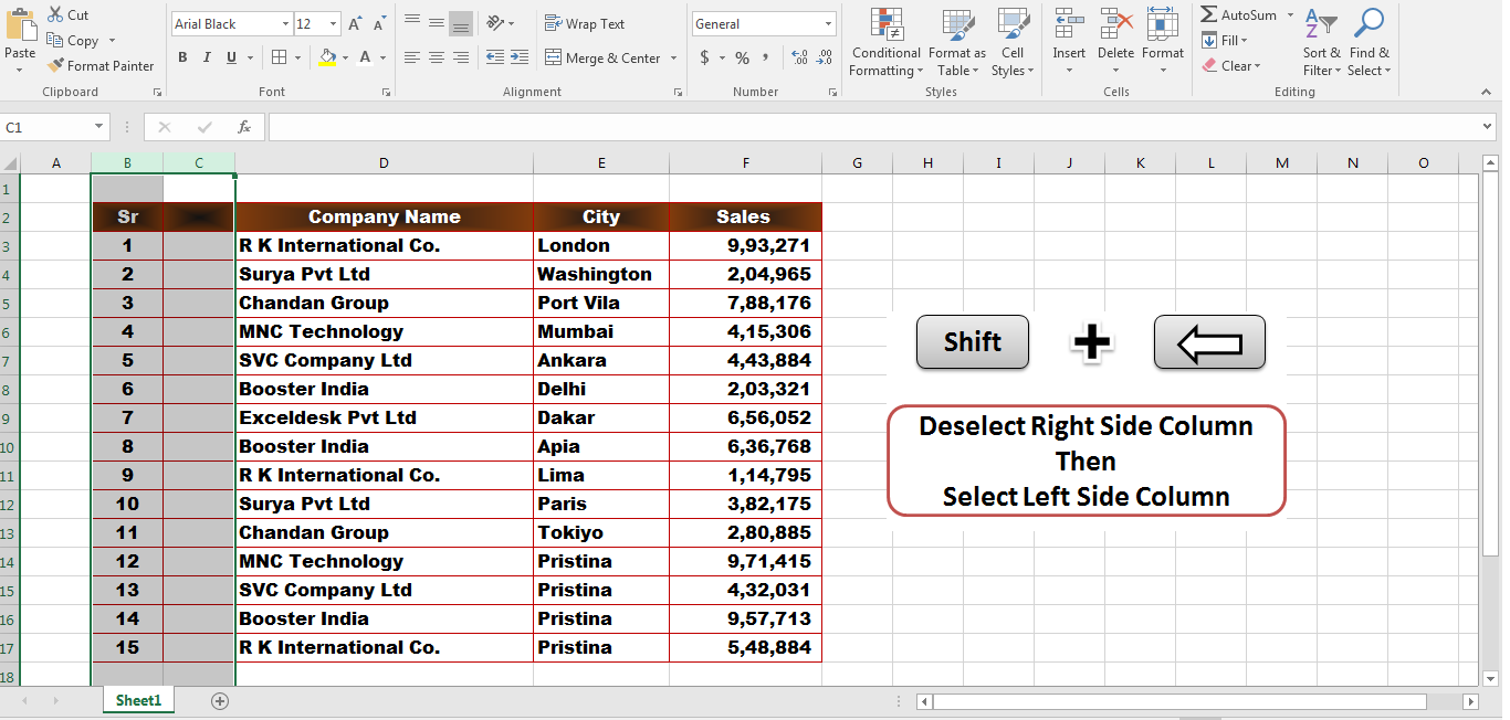 5 Important Excel Shortcut Keys That Make You An Expert In MS Excel Select,Shift + Left Arrow