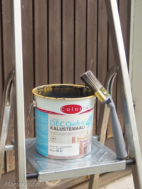Talon varastojen ja tallin ovet ennen maalausta