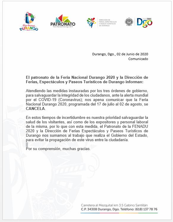 CANCELADA Feria Durango 2020