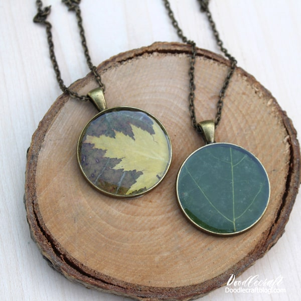 Leaf pendant necklace coated with high gloss resin.