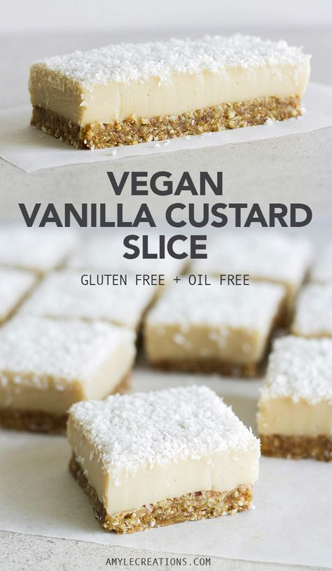 No Bake Vanilla Custard Slice made vegan, gluten-free, soy-free, oil-free, only 8 ingredients and made healthier than the traditional custard slice.