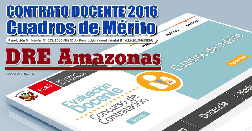 DRE Amazonas: Cuadros de Mérito para Contrato Docente 2016 (Resultados 22 Enero) - www.drea.gob.pe