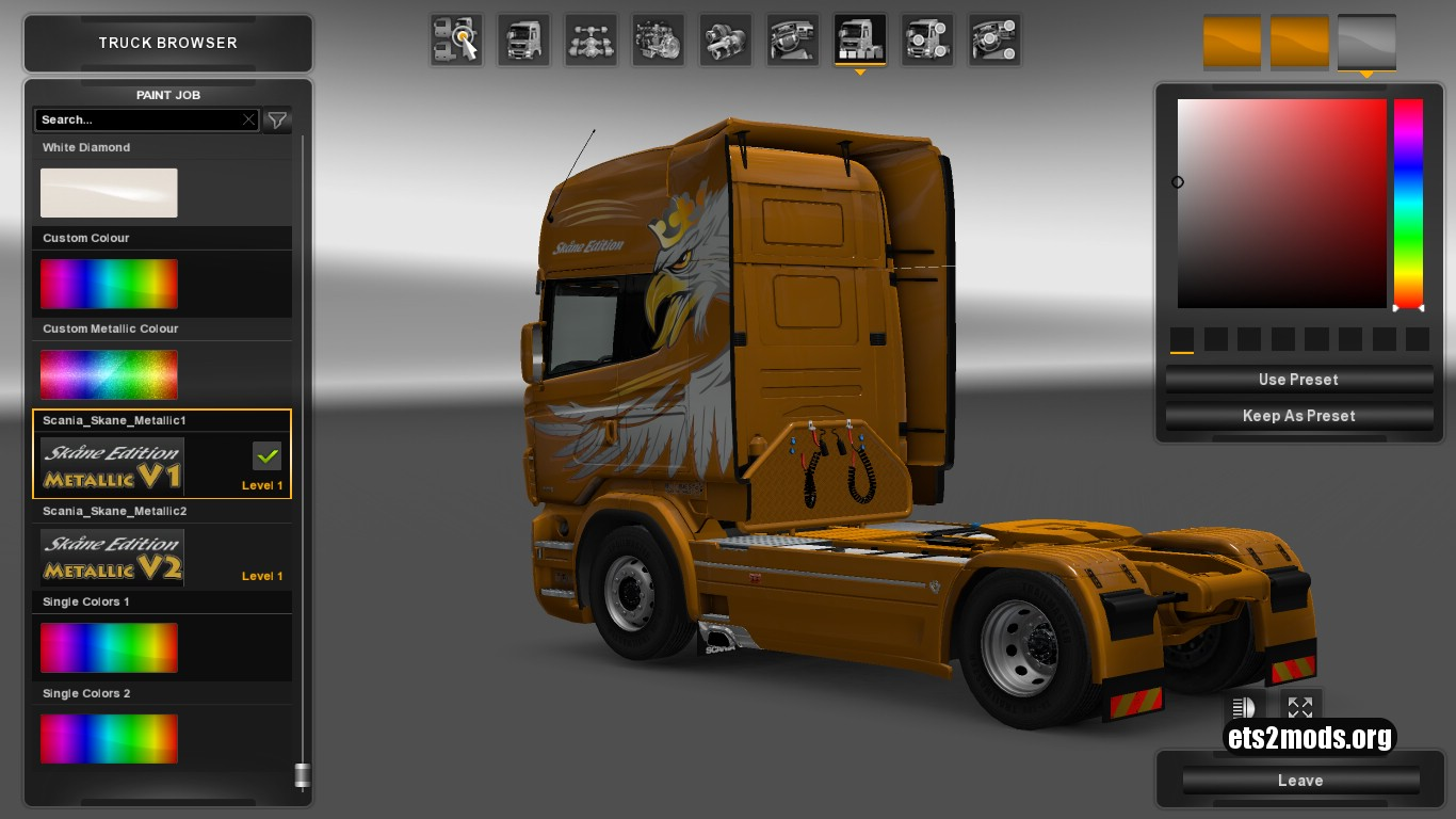 Scania RJL Skåne Edition Metallic Skin