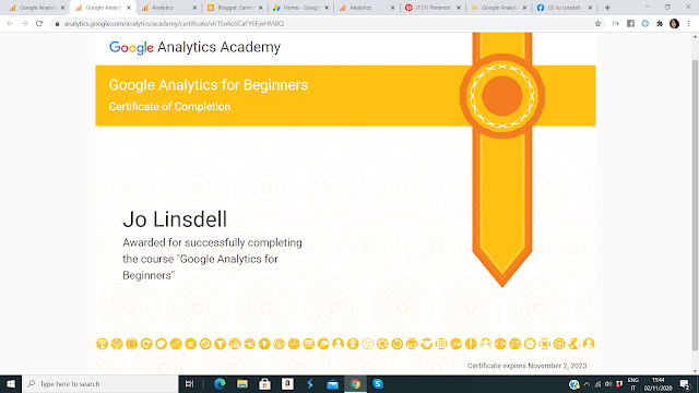 Google Analytics for Beginners certificate of completion for Jo Linsdell