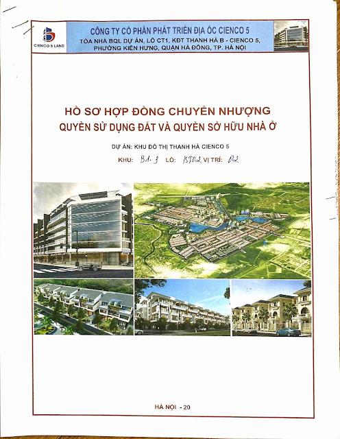 Bìa hợp Đồng Biệt Thự Thanh Hà Cienco 5