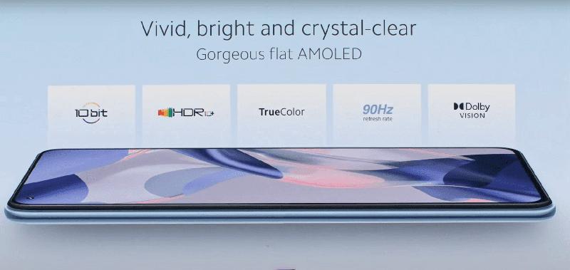 Xiaomi 11 Lite 5G NE's screen