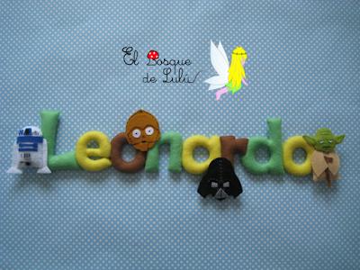 nombre-fieltro-starwars-felt-name-name-banner-elbosquedelulu-hechoamanoparati-detalle-nacimiento-decoración-infantil-Leonardo