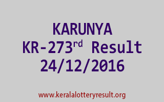 KARUNYA KR 273 Lottery Results 24-12-2016