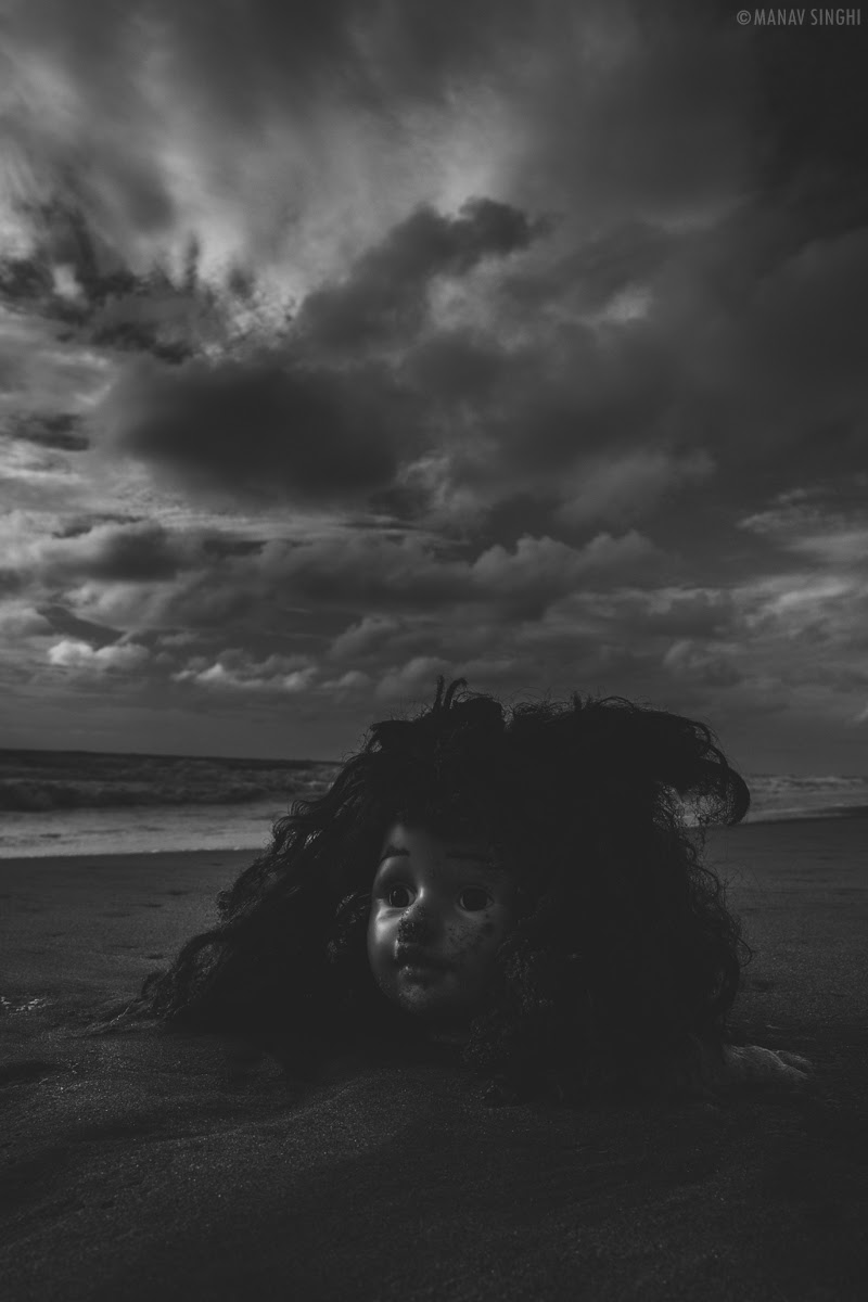 A Doll face on Beach in front of  Le Pondy Beach Resort Pondicherry - 29-Oct-2019.