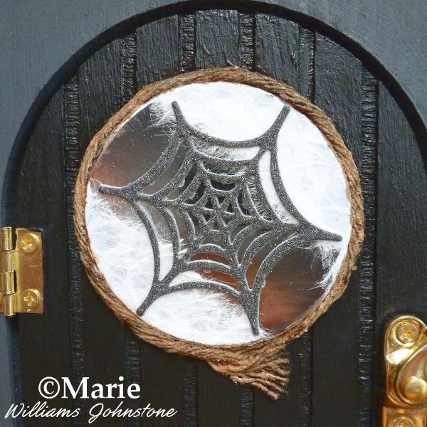 Spiderweb Halloween fairy door detail cobweb witch house