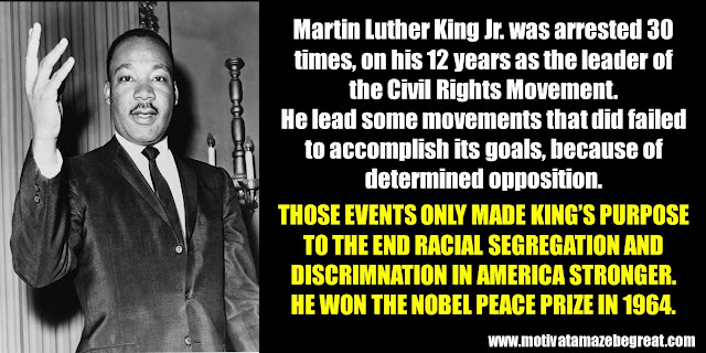 63 Successful People Who Failed: Martin Luther King Jr., Success Story, Arrested 30 times, civil rights movement, failures, segregation, discrimination,