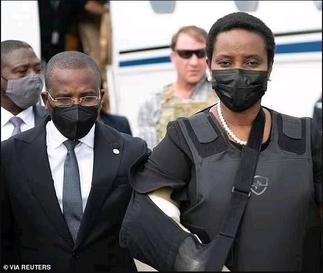 Widow of Haiti's assassinated president Jovenel Moise arrives home in bulletproof vest